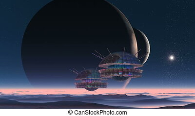 Spaceships, Two Moons And Alien Planet - Spaceships fly on a...