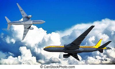 passenger plane - 3d illustration of sunset and passenger...