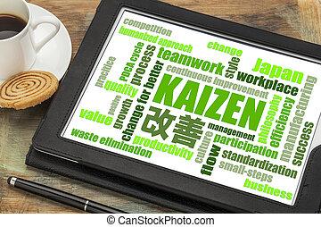 conceito, palavra, contínuo,  -, melhoria,  kaizen, nuvem