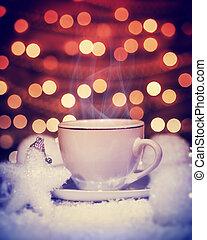 Hot Christmas coffee still life, beautiful elegant white...