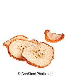 dried apple - slices of dried apple isolated on white