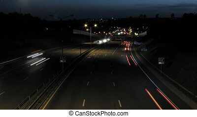 Night timelapse scene of car traffi