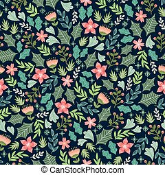 wintery floral pattern - floral pattern with winter signs