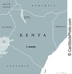 Kenya political map with capital Nairobi. Republic in Africa...