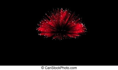 Spectacular Fireworks show, red linear fireworks, multiple lines Full HD Ver. 6