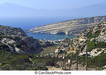 View of Matala bay on Crete