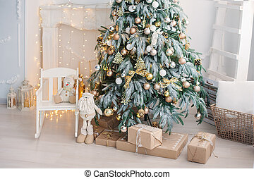 Luxury living room interior decorated with chic Christmas tree