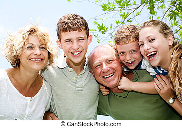 Close-up shot of a happy family