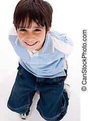 Aerial view of cute kid