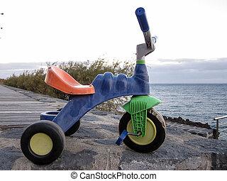 Grunge Vintage Tricycle - Colored Used Grunge Vintage...