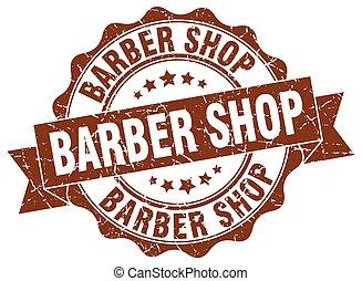 loja, sinal, selo, barbeiro, selo