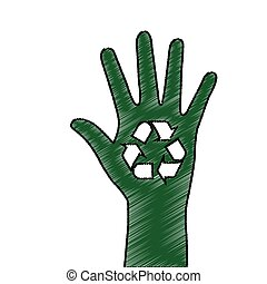hand human ecology symbol vector illustration design