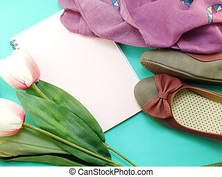 blank notebook and flat shoes still life with space copy...