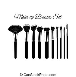 Set of Cosmetic Brushes for Make up. Isolated On White Background