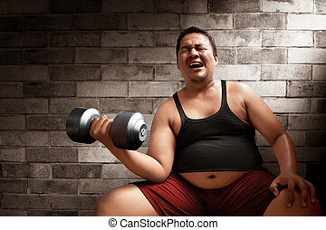 Fat man lifting weights