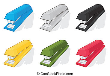 Icons of staplers of different colours. A vector illustration