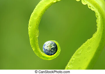 concept photo of earth on green nature, Earth map by...