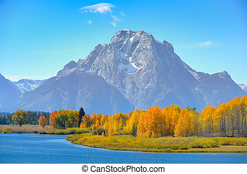 Oxbow Bend - Dramatic scene of Oxbow Bend after storm. Grand...
