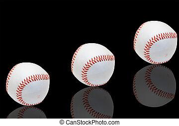 baseball - Isolated white official baseball over black...