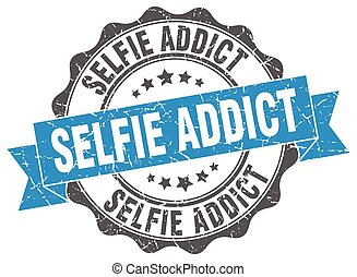 selfie addict stamp. sign. seal