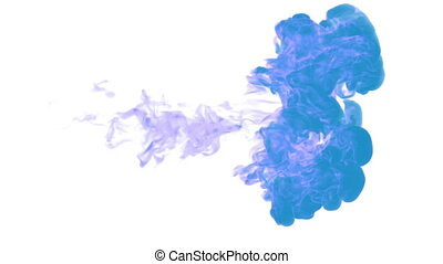 blue paint dissolved in water on a white background. 3d render. voxel graphics. computer simulation 5. full HD