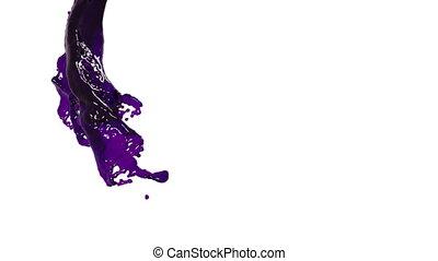 flying purple fluid flow in slow motion. clear liquid.