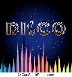 Disco background with soundwaves - Disco background with...