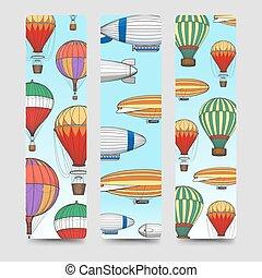 Hot air balloons bookmarks set