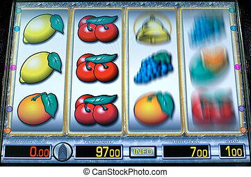 Fruit machine - Rotating display of a fruit machine