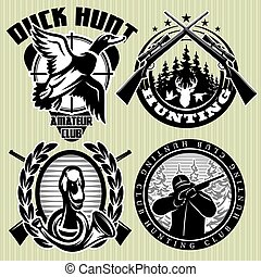 vector set of hunting label with wild ducks and deer head