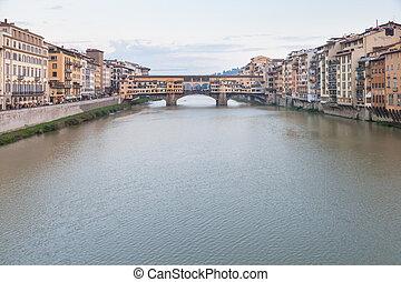 Arno River with Ponte Vecchio in twilight