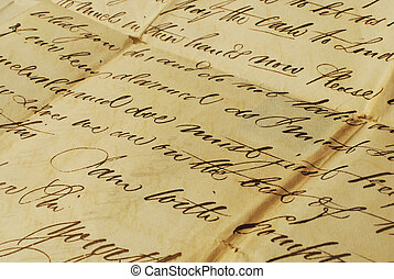 Old letter, elegant handwriting - Close up of old letters...
