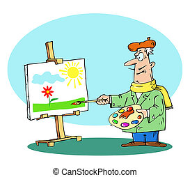 artist paints - an artist paints a landscape on canvas