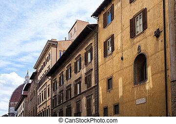 old apartment buildings and dome of Cathedral