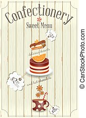 Confectionery Sweet Menu. Hot Chocolate and Desserts. Vector...