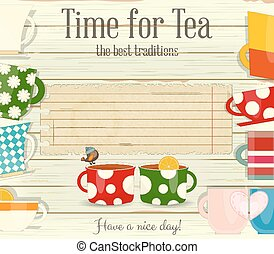 Tea Time Card Menu in Retro Style. Place for Text. Vector...