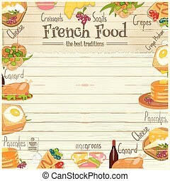 French Food Menu Card with Traditional Meal on White Wooden...