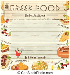 Greek Food Menu Card with Traditional Meal on White Wooden...