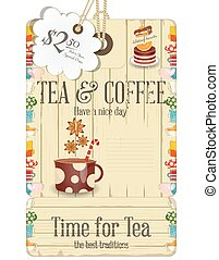 Tea Time - Tea and Coffee Time Tag Menu in Retro Style....