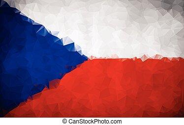 Flag of Czech Republic, geometric polygonal triangle...