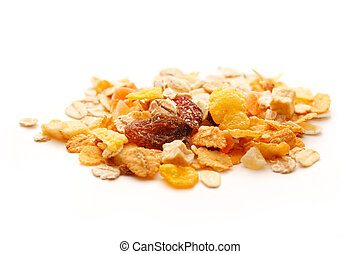 Heap of fresh musli with raisin on white background