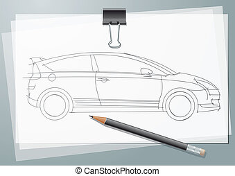 Car Sketch project. Drawing with paper clip and pencil