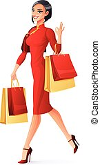 Vector beautiful Chinese woman walking with shopping bags showing OK.