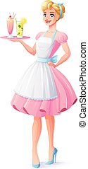 Vector housewife with apron holding tray with milkshake and...