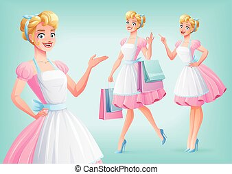 Cute smiling housewife in apron in different poses. Vector...