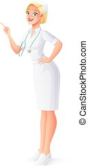 Vector medical nurse in uniform with stethoscope pointing finger up.