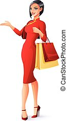 Beautiful Chinese Asian lady with shopping bags presenting. Vector illustration.