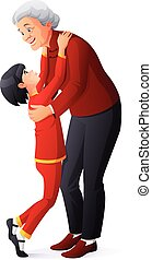 Happy smiling grandmother hugging granddaughter. Cartoon vector illustration.