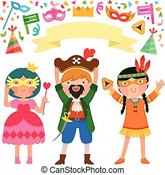 Purim party - Purim, costumes, kids, children, boy, girl,...