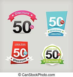 022 Collection of colorful web tag banner for promotion sale and discount vector illustration